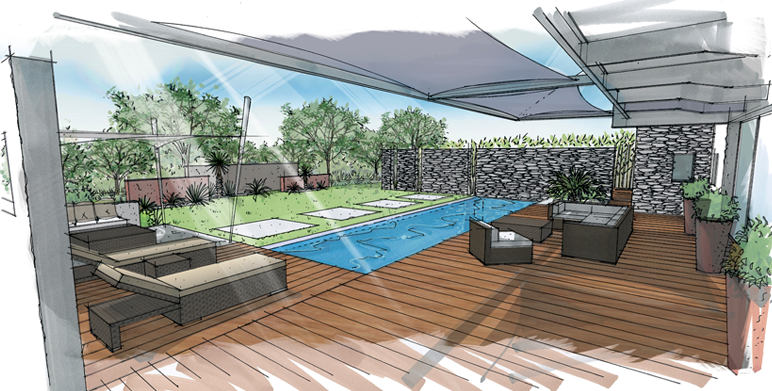 Dessins et perspectives de jardins piscines terrasses pool for Decor paysagiste jardin
