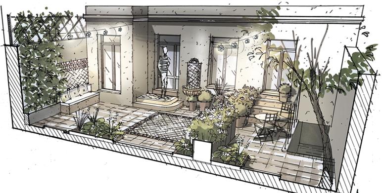 Patio marseillais phase d esquisse architecte - Jardins mediterraneens amenagement ...