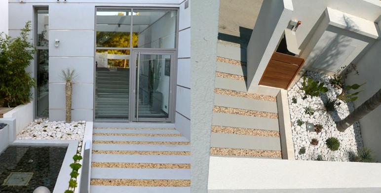 Jardin contemporain avec terrasses roucas blanc for Architecte paysagiste contemporain