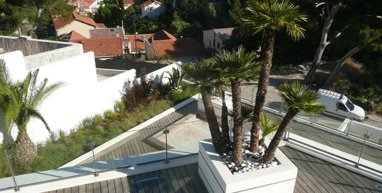 Jardin contemporain avec terrasses roucas blanc marseille architecte paysagiste thomas - Terrasse et jardin marseille ...